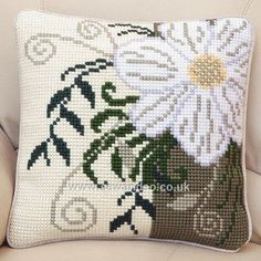 Buy Corner Flower Cushion Front Chunky Cross Stitch Kit Online at www.sewandso.co.uk