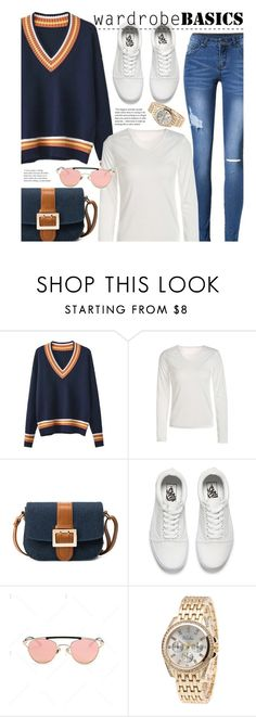 """""""Casual Wardrobe Basics: V-Neck Sweater"""" by beebeely-look ❤ liked on Polyvore featuring Vans, casual, sneakers, whiteshirt, sweaterweather and twinkledeals"""