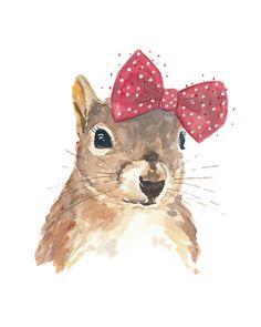Squirrel Watercolour PRINT - 5x7 Watercolor Print, Squirrel Wearing a Bow, Nursery Art