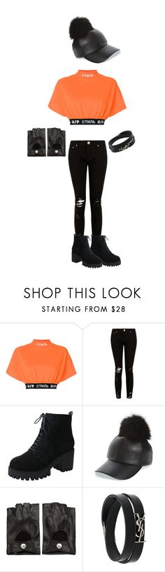 """Street style orange"" by trendy-school-girl ❤ liked on Polyvore featuring Heron Preston, Evelyn K, Ann Demeulemeester, Yves Saint Laurent, orangeoutfit and popsoforange"