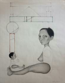 'Mother'  by Veronica Jaeger  Location: Pharr, Texas, United States Description of work: pencils on paper