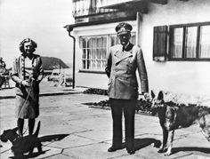 Adolf Hitler and his mistress Eva Braun pose on the Terrace of the Berghof, Berchtesgaden in Germany. The residence was Hitler's mountain r...