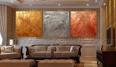 #Originalpainting #Gold #Abstract #Triptych by #JuliaApostolova #Original…