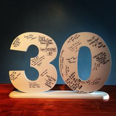 For guests to sign and write notes on -- then take a photograph to frame/keep. Toss the big numbers.