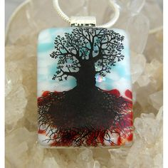 #ladybird2turtle #pinadayoct #glass $22.00 Tree of Life Dichroic Glass Pendant includes necklace P23 by DichroicCreations on Handmade Australia