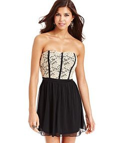 Stitch Clothing Juniors Dress, Strapless Lace Sweetheart  LoveLace