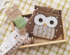 PDF Pattern of Owl coin purse wallet clip handbag bag cotton sewing quilt applique patchwork art gift:
