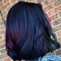 The rainbow hair trend finally hits dark manes—and it looks amazing. Check out our tips to giving your hair a bright colour makeover Oil Slick Hair Color, Vivid Hair Color, Girl Hair Colors, Hair Color For Black Hair, Perfect Hair Color, Cool Hair Color, Black Hair With Highlights, Hair Highlights, Creative Hair Color
