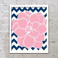 Bold Colorful Dahlia Flower Chevron Pink Navy Blue Decor Wall Art Poster Nursery Print Bedroom Bathroom on Etsy, $12.00