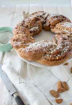 Vegan sugar free almond and cinnamon braided spelt bread