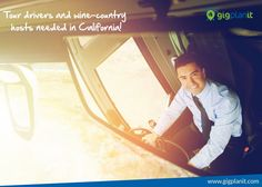 GoGrape is looking for tour drivers and win-country hosts in California! Learn more at  http://www.gigplanit.com/  #TourDrivers #TourGuide #TourGuideCalifornia #Gigs