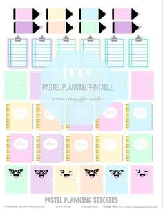 Free Printable Planner Themed Stickers from Vintage Glam Studio Pastel notebooks / journals with faces, clipboards for to do lists and pencil stickers