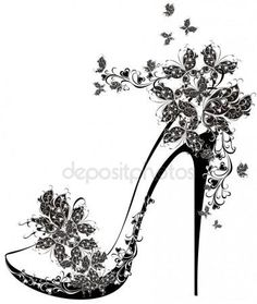 Illustration of Shoes on a high heel decorated with flowers and butterflies vector art, clipart and stock vectors. Diy Image, Collages D'images, Paar Tattoo, Illustration Mode, Illustration Fashion, White Butterfly, Butterfly Shoes, Butterfly Tattoos, Shoe Art