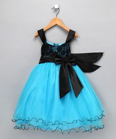 Take a look at this Chic Baby Black & Turquoise Sequin Tulle Dress - Toddler & Girls by Chic Baby on #zulily today!
