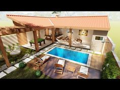 Outdoor Decor, House Design, Future House, House, Courtyard House, Hacienda, Colonial House, Courtyard House Plans, Swimming Pools