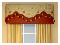 Simple cornice w/ fancy curtains over the top for pizazz Fancy Curtains, Gold Curtains, Valance Curtains, Window Cornices, Window Coverings, Cornice Design, Cornice Ideas, Valance Ideas, Curtain Ideas