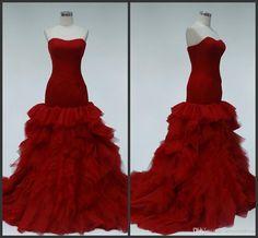 Red Formal Wear Mermaid Wedding Dresses Lace Up Back Elegant Design Custom Sweetheart Neck Sweep Train High Quality Bridal Gown Fashion Bridal Dress Mermaid Dress From Lovemydress, $133.28| Dhgate.Com