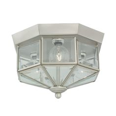 Flushmount Light with Clear Glass in Brushed Nickel Finish | 7661-962 | Destination Lighting