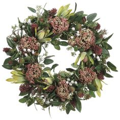 """With bursts of burgundy color, this  19"""" Protea, Thistle, and Sedum Garden Wreath is crafted with lifelike protea, sedum, and sprigs of thistle for a display that looks plucked directly from the field."""