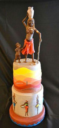 Marzia Caruso cakes Beautiful Cake Designs, Beautiful Cakes, Amazing Cakes, Unique Cakes, Creative Cakes, Fondant Cakes, Cupcake Cakes, Africa Cake, African Wedding Cakes