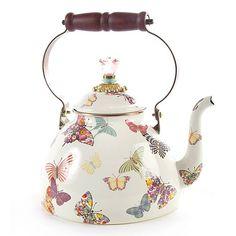 MacKenzie-Childs Butterfly Garden Enamal Tea Pot 3 Quart White at Herendstore Vintage Tea, Teapots And Cups, Chocolate Pots, My Tea, Tea Accessories, Tea Time, Tea Party, Tea Cups, Shabby Chic