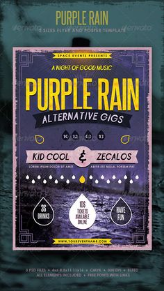 Purple Rain Poster and Flyer  — PSD Template • Only available here ➝…
