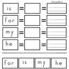 Sight word practice for is, my, he, and for. Easy hands-on activity for kindergarten kids. ...