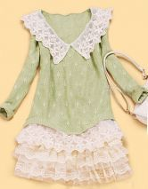 Light Green Contrast Floral Lace Collar and Hem Stitch Sweater £24.13