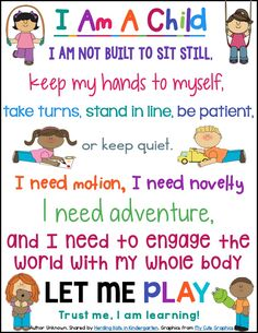 "FREE ""I Am A Child"" poster - inspirational words to support play-based learning!"