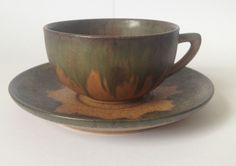 French art pottery Denbac Cup and Saucer