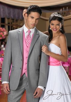 Wedding Ideas: Pink and Grey Wedding Ideas. Dark grey for the groomsmen