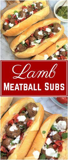 Lamb Meatball Subs | lamb meatball sandwich | lamb meatballs | pesto | mediterranean