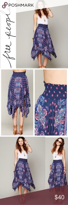 FREE PEOPLE KALEIDOSCOPE FLY AWAY SKIRT ✔️Beautiful Paisley Pattern ✔️Smocked Waist Band  ✔️100% Rayon ✔️Asymmetrical Hem ✔️No Holes, Stains or Damages Free People Skirts