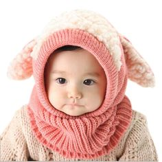 Crazy Genie Unisex-baby Toddler Winter Beanie Warm Hat Hooded Scarf Earflap Knitted Cap Girls Boys (Pink): knitted cap caps for men women cape with visor sleeping kids sweater versace newborn warm hat baby boy winter wool girl ear flaps Beanie Babies, Newborn Beanie, Scarf Hat, Beanie Hats, Fur Hats, Dog Beanie, Girl Beanie, Cozy Scarf, Crochet Beanie