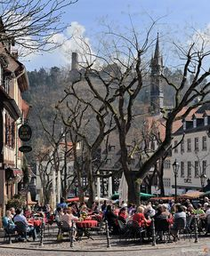 Enjoying coffee in Weinheim in the Spring...