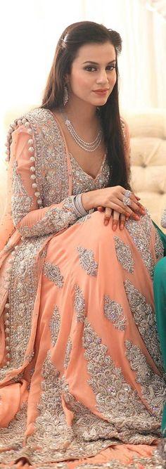 pretty bride in Mina Hassan bridal...