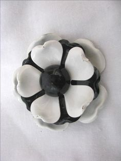 bda191b35e82 Items similar to Vintage black   white layered enamel flower pin brooch on  Etsy