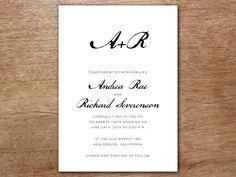Wedding Invitation Template - Calligraphy Monogram