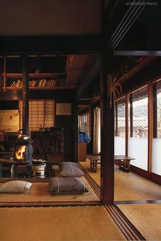Japanese home with an awesome stove in the floor!!