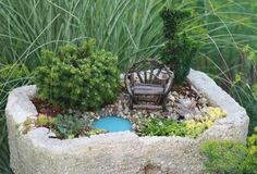 ***CHAIR*** miniature garden designs and fairy gardens