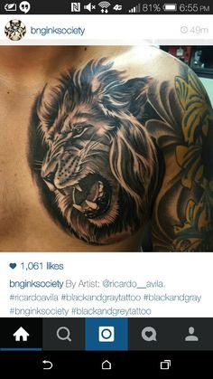 Loin tattoo on chest