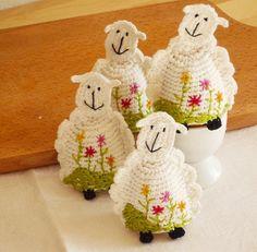 Crochet Sheep Egg Cozy Egg warmers Set of 2 by MonikaDesign