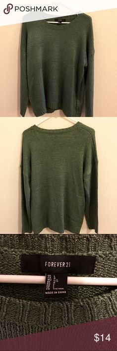 Super cute oversized sweater This forest green sweater is super cute to wear as an oversized comfy top. I generally wear smalls and it fits me beautifully despite being a large. NWOT, I've never worn this. Forever 21 Sweaters Crew & Scoop Necks