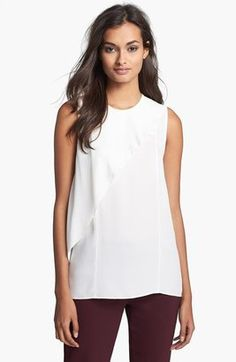 Theory Charelle Cascade Silk Top White Large Theory