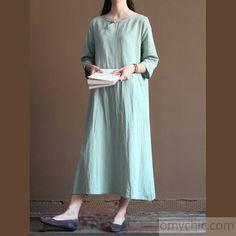 light blue linen sundress unique summer maxi dress caftan