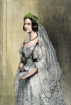 Feb. 10, 1840    A hand-colored woodcut reproduction of a portrait of Queen Victoria on her wedding day.