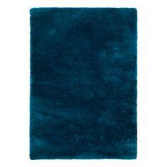Obsession Tapis Curacao, tissé main, bleu pétrole épaisseur 30 mm - 2,6 kg/m²