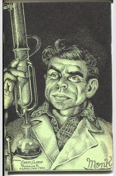 "Doc Savage aide ""Monk"" Mayfair, by Frank Hamilton. Stippling Art, Pulp Art, Sketch Art, Hyde, Comic Strips, Savage, Hamilton, Bronze, Portraits"