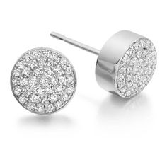 Monica Vinader Ava Button Stud Earrings (17,390 THB) ❤ liked on Polyvore featuring jewelry, earrings, accessories, sterling silver disc earrings, sterling silver earrings, button jewelry, earring jewelry and pave diamond stud earrings