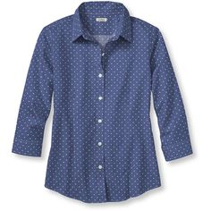 L.L.Bean Wrinkle-Free Pinpoint Oxford Shirt, Three-Quarter Sleeve Dot ($50) ❤ liked on Polyvore featuring tops, fitted shirt, blue polka dot shirt, plus size shirts, fitted button-down shirts and button shirt